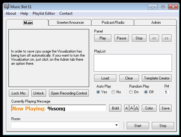Paltalk Music Bot - 1 (Main Page)